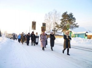 Крестный ход на реку Чулым (праздник Боговяления, 2014 год)